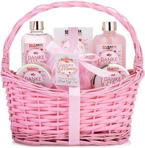 BRUBAKER Cosmetics - Danke Mama - 7-teiliges Muttertags Bade- und Dusch Set - Rosen Vanille Duft - Geschenkset in Vintage Korb Rosa