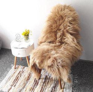 Lammfell Teppich Schaffell echt langhaar - Schafsfell Fell deko Fellteppich Sheepskin (Beige, (XL) 110 - 115 cm)