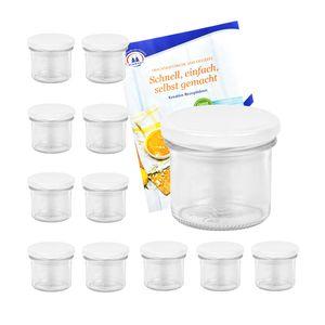 12er Set Sturzgläser 125 ml mit weißem Deckel To 66 inkl. Diamant Gelierzauber Rezeptheft Marmeladengläser Einmachgläser Einweckgläser