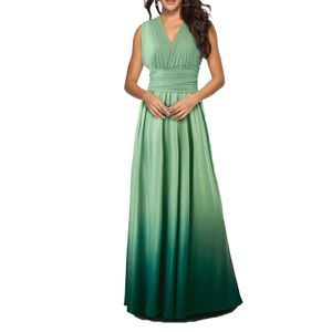 Frauen Cabrio Kleider Maxi Kleid Multi Way Ombre Abend Flowy Brautjungfer Party Cocktail Neujahr Formal Long Dress[gruen-M]
