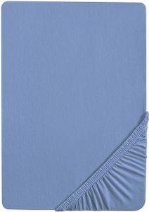 Castell Spannbettlaken 140x200 cm bis 160x200cm, Spannbetttuch Stretch Jersey, blau niagara