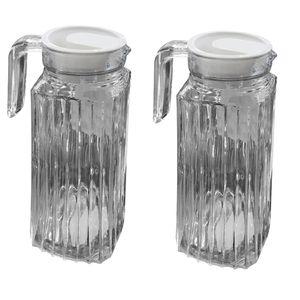 2 x 1 Liter Glas Kühlschrankkrug Karaffe Saftkrug Glaskrug Kanne Deckel Griff H24cm