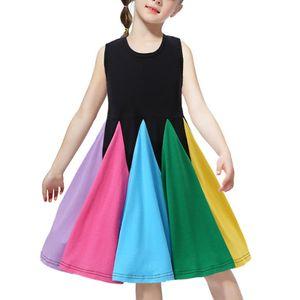 Kinder Mädchen Regenbogen Kostüm Cosplay Prinzessin Weihnachtsfeier Ärmelloses Kleid,Farbe:Schwarz,Größe:120