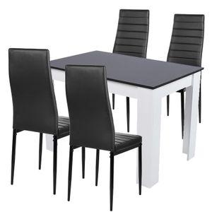Esstisch mit 4 Stühlen Esszimmer Essgruppe 110x70x73.4cm  für Esszimmer Essgruppe(Schwarz)
