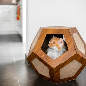 Kratzkarton HEXA-BOX - Kratzpappe & Karton in einem für Katzen