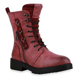 Mytrendshoe Damen Stiefeletten Leicht Gefüttert Schnürstiefeletten Ösen Schuhe 835732, Farbe: Burgund, Größe: 38