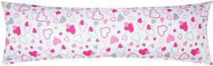 Baumwoll Renforcé Seitenschläferkissen Bezug 40x145cm - Kleine und große Herzen - 100% Baumwolle Stillkissenbezug (KY-550-1)