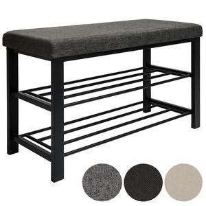 Schuhregal mit Sitzbank aus Metall 81x32x46 cm Schuhbank Grau