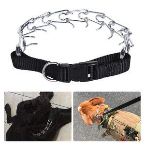 Hund Prong Kragen Haustiere Training Prise Edelstahl Getriebe mit verstellbarer Länge Releasable Snap Buckle Aktualisiert Stumpf geschnittene Spitze für mittlere große Hunde