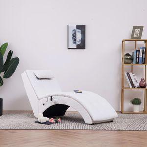 【Modernen Design】Liegen Massage Chaiselongue mit Kissen Weiß Kunstleder Produktgröße:145 x 54 x 72 cm Hochwertiger Möbel|Stühle|Chaiselongues♔8686