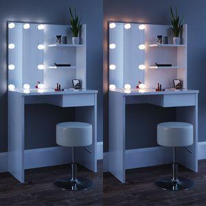 Vicco Schminktisch Dekos Kosmetiktisch Frisierkommode Frisiertisch Spiegel Weiß inklusive Hocker und LED-Lichterkette