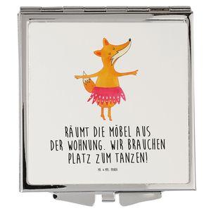 Mr. & Mrs. Panda Quadrat, silber, Handtaschenspiegel quadratisch Fuchs Ballerina mit Spruch