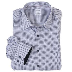 Olymp XXL Langarmhemd bügelfrei weiß-blau gemustert, Kragenweite:50