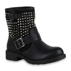 Mytrendshoe Damen Stiefeletten Stiefel Biker Boots Nieten Warm Gefüttert 70628, Farbe: Schwarz, Größe: 37