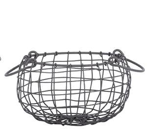 Esschert Design Draht Korb -KLEIN- rund Ø 22,3 cm Griffe Dekoration Garten Deko