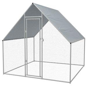 CHIC® Outdoor-Hühnerkäfig  Kaninchenstall Größer Kleintierhaus Outdoor Hühnerhaus Geflügelstall Voliere Mäusekäfig Rattenkäfigg 2x2x1,92 m Verzinkter Stahl NEU8082 Größe:2 x 2 x 1,92 m