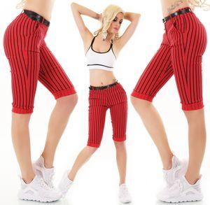 Slim Capri Hose Streifen Look Gürtel Casual Röhre 3/4-Länge, Farbe: Rot, Größe: 34
