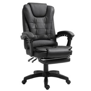 Schreibtischstuhl Design Bürostuhl Racing Chair Chefsessel Gamingstuhl Fußstütze, Farbe:Schwarz