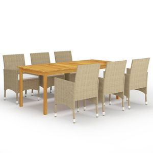 Gartenmöbel Essgruppe 6 Personen ,7-TLG. Terrassenmöbel Balkonset Sitzgruppe: Tisch mit 6 Stühle, Beige❀1334