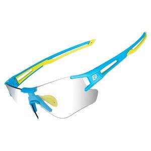 ROCKBROS blau-grün Fahrradbrille Rahmenlose Sport Brille Photochromic Sonnenbrille UV400