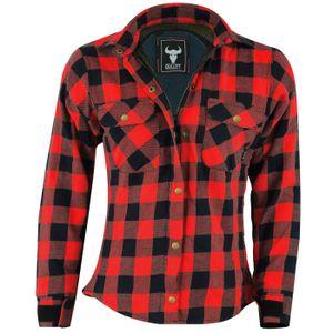 Damen Motorradhemd Holzfäller-Look Hemd mit Protektoren, Farbe:Rot, Damen_Größen:42/XL
