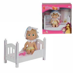 Puppe Mascha mit Bett | Mascha und der Bär | Spielset | 12 cm