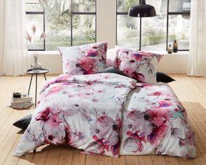 Mako Satin Bettwäsche Blumen Magnolie pink türkis 155x200 + 80x80