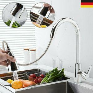 Küchenarmatur mit 2 Strahlen Wasserhahn Küche ausziehbar Spültischarmatur Edelstahl Armatur Küche mit Brause Mischbatterie Küche Armatur