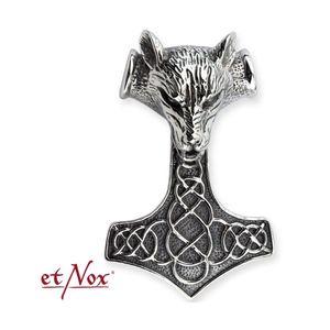 Wolf Thors Hammer Anhänger groß: Herren Edelstahl Amulett von etNox