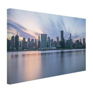 Leinwand Bilder - 120x80 cm - Manhattan New York Skyline Sonnenuntergang  - Modernes Wandbilder - New York