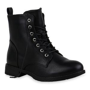 Mytrendshoe Damen Stiefeletten Schnürstiefeletten Leicht Gefütterte Schuhe 835467, Farbe: Schwarz, Größe: 39