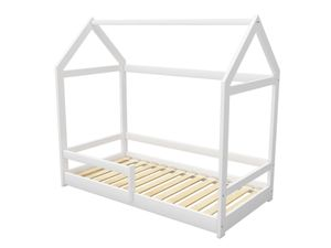 ACMA Kinderbett Kinderhaus Kinder Bett Holz Haus Schlafen Spielbett Hausbett 2 - Massivholz - Weiß, 70 x 140 cm