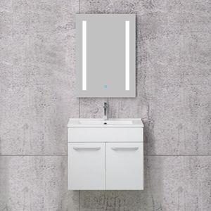 Badmöbel Set Weiß 60 cm- Badezimmer Waschtisch mit Unterschrank, Badspiegel mit Beleuchtung, LED Beleuchtet - Badezimmer trends 2020