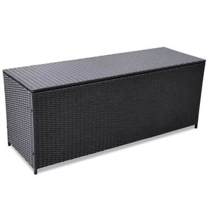 Huicheng Polyrattan Kissenbox 150×50×60 cm Gartenbox Aufbewahrungsbox Schwarz bis 160kg belastbar