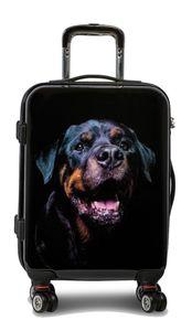 Reisekoffer M Hund Rottweiler Schwarz 55x38x20cm Bordgepäck Handgepäck Trolley Bowatex