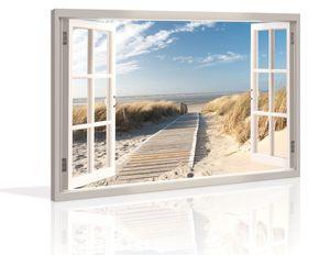 120 x 80 cm Bild auf Leinwand Festerblick zur Düne 5007-SCT deutsche Marke und Lager  -  Die Bilder / das Wandbild / der Kunstdruck ist fertig gerahmt