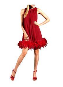 APART Chiffon-Abendkleid mit Federboa, rot Schnäppchen Größe: 32