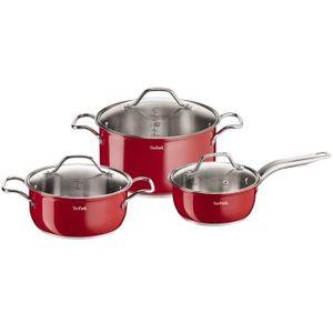 TEFAL INOX INTUITION COLORS 6-teiliges Küchenset B903S374 16-20-24cm - Alle Wärmequellen einschließlich Induktion - Rot