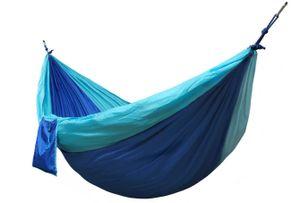 Kronenburg Ultraleicht Nylon Hängematte 275x140 cm, nur 595 Gramm, Traglast 300 kg inkl. 2 Karabiner und Seile Blau-Hellblau