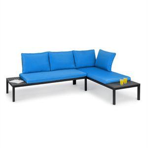 blumfeldt Cartagena Lounger , Gartenbänke , Lounge-Set: 2 Zweisitzer + Tisch / 2 Auflagen / 4 Kissen , modular , Sitzgarnitur: für 4 - 6 Personen / Loungeliege: für 2 Personen , Max. Belastung: 240 kg je Element , Stahl , Polywood , Polyester , blau