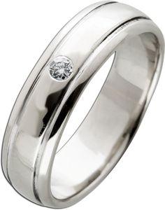Solitär Ring Weißgold 585 14 Karat 1 Diamant  Brillant Schliff 0,04ct TW/VSI  Verlobungsring Trau