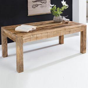 WOHNLING Couchtisch 110 x 60 x 47 cm Massiv-Holz Mango Natur | Landhaus-Stil Wohnzimmertisch Rustikal Kaffeetisch | Massivholztisch Wohnzimmer
