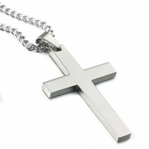 Gut aussehende Männer Frauen Universal Silber Edelstahl Kreuz Anhänger