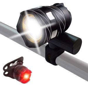 Fahrrad Licht Fahrradbeleuchtung set LED MTB Fahrradlampe Frontscheinwerfer USB