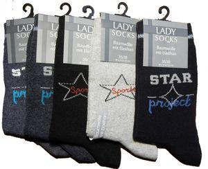 5er Pg. Damen Socken Strümpfe Gr. 35-38, Baumwollmischgewebe,  dunkel gemustert