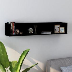 Gute Möbel® CD-Wandregal - Hängeregal Skandinavisch Bücherregal Regal Für Badezimmer,Schlafzimmer,Wohnzimmer, Schwarz 100 x 18 x 18 cm Spanplatte Größe:100 x 18 x 18 cm🌻1758