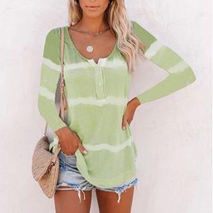 Frauen Gradient Striped Langarm T-Shirt Pullover Casual Shirt Top,Farbe: grün,Größe:XXL
