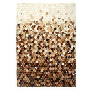 vidaXL Teppich Echtes Kuhfell Patchwork 160×230cm Braun/Weiß