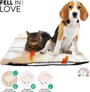 riijk Selbstheizende Decke für Katzen & Hunde, Heizdecke waschbar, Wärmematte für Katzen raschelfrei, Katzendecke - Größe:S