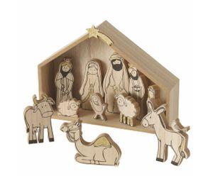 Holz Weihnachtskrippe mit 11 bemalten Figuren
